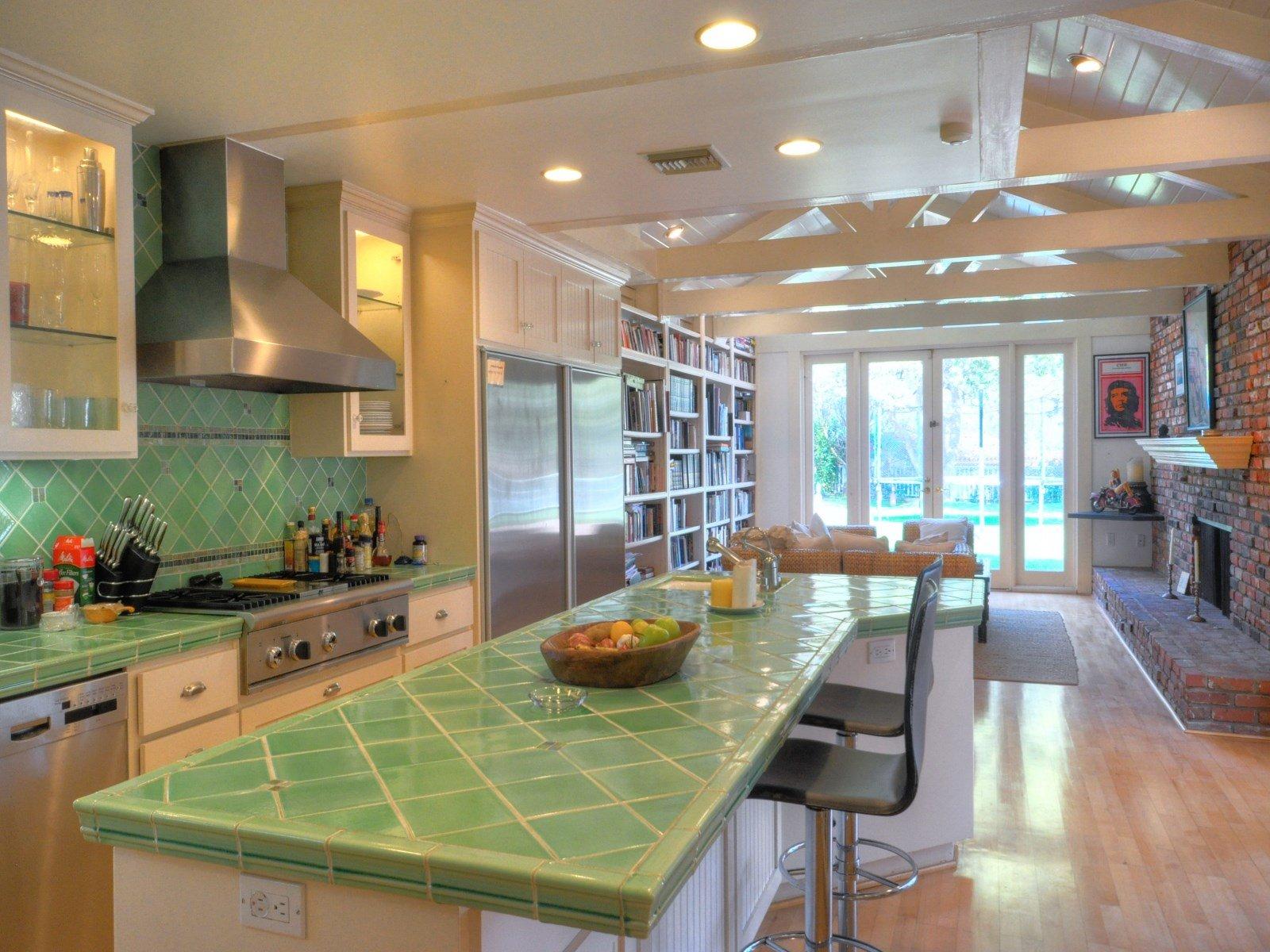 Kitchen in Sean Penn's home for sale in Malibu CA