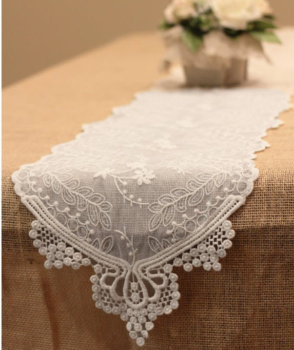 Lace Table Runner in White