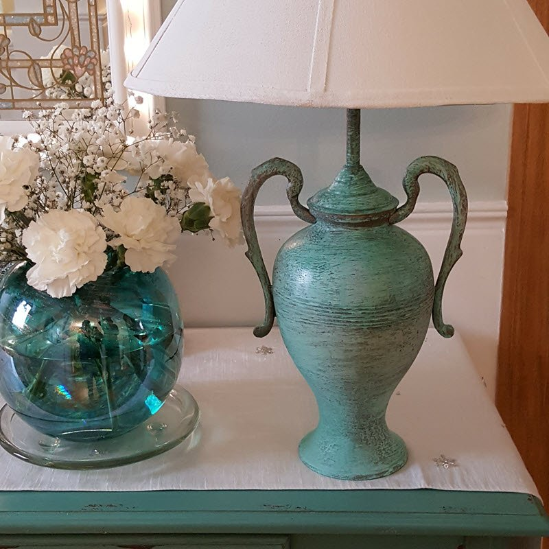 I love my old world style lamp transformed with Modern Masters Metal Effects in Patina Green - Housekaboodle