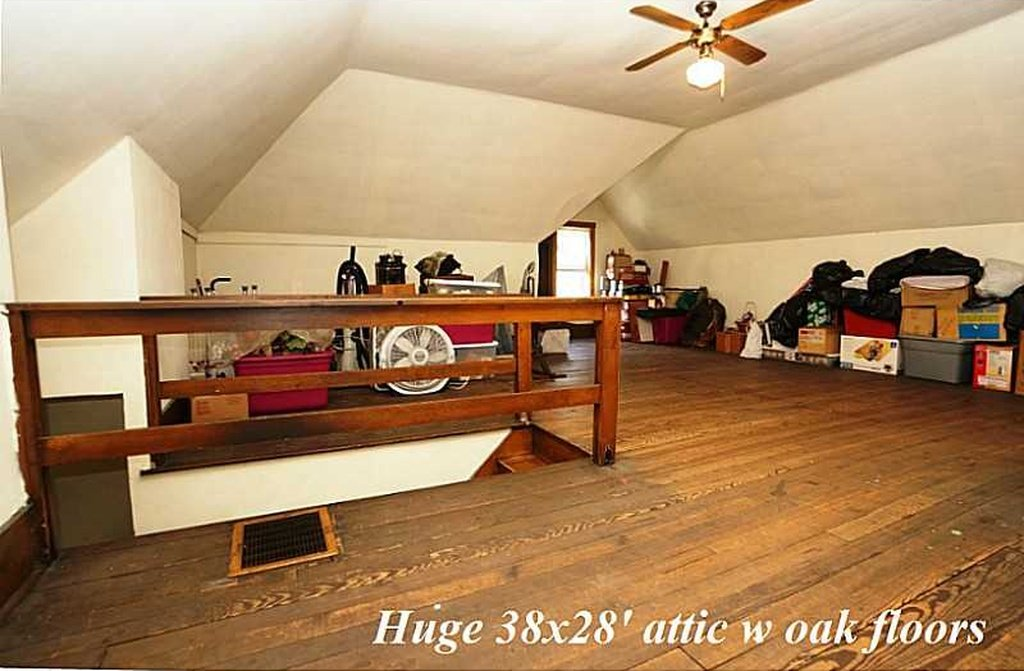 Large attic with oak floors 8 Circle St Perryopolis PA house for sale