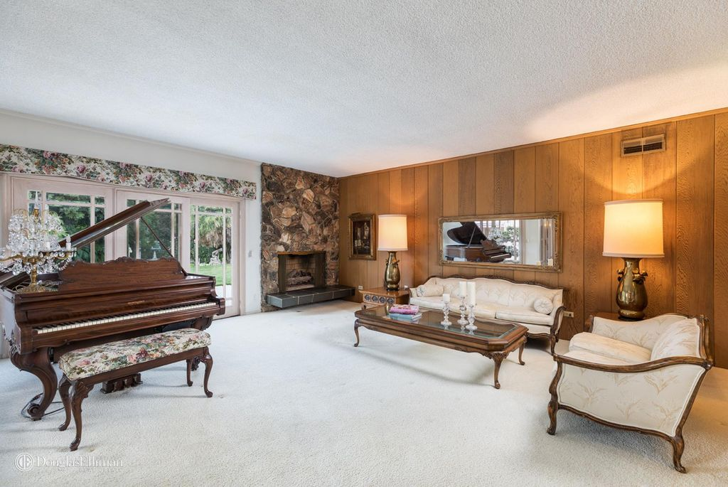 Living Area inside the real life Brady Bunch House that is on the market