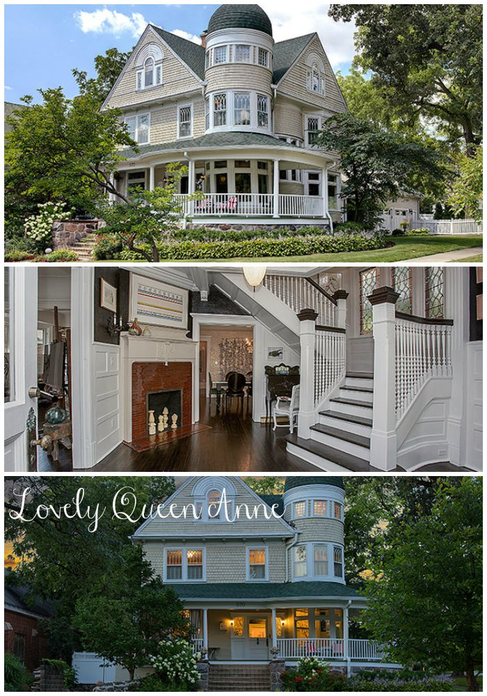 Lovely Queen Anne House in Illinois for sale is as gorgeous inside as it is outside. Beautiful grand entrance and staircase and turret steal the show. The kitchen has a French LaCornue gas range.