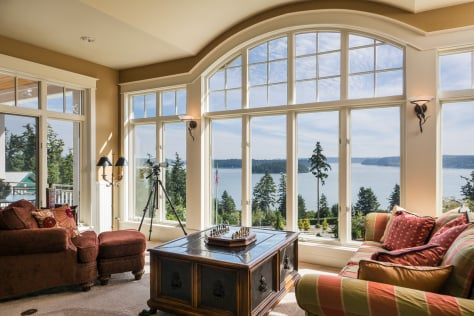 Luxurious custom horse ranch in Anacortes, Washington - living room