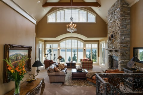 Luxurious custom horse ranch living room