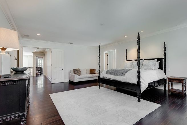 Master Bedroom inside Vince Vaughns Colonial Mansion in California for sale
