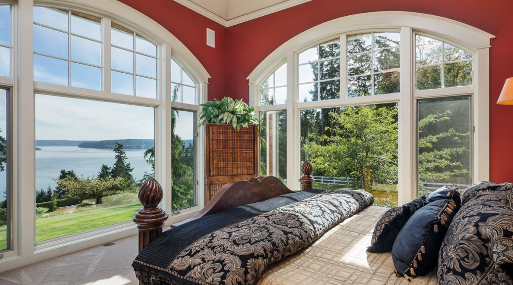 Master Bedroom inside luxurious horse ranch in Anacortes, Washtington