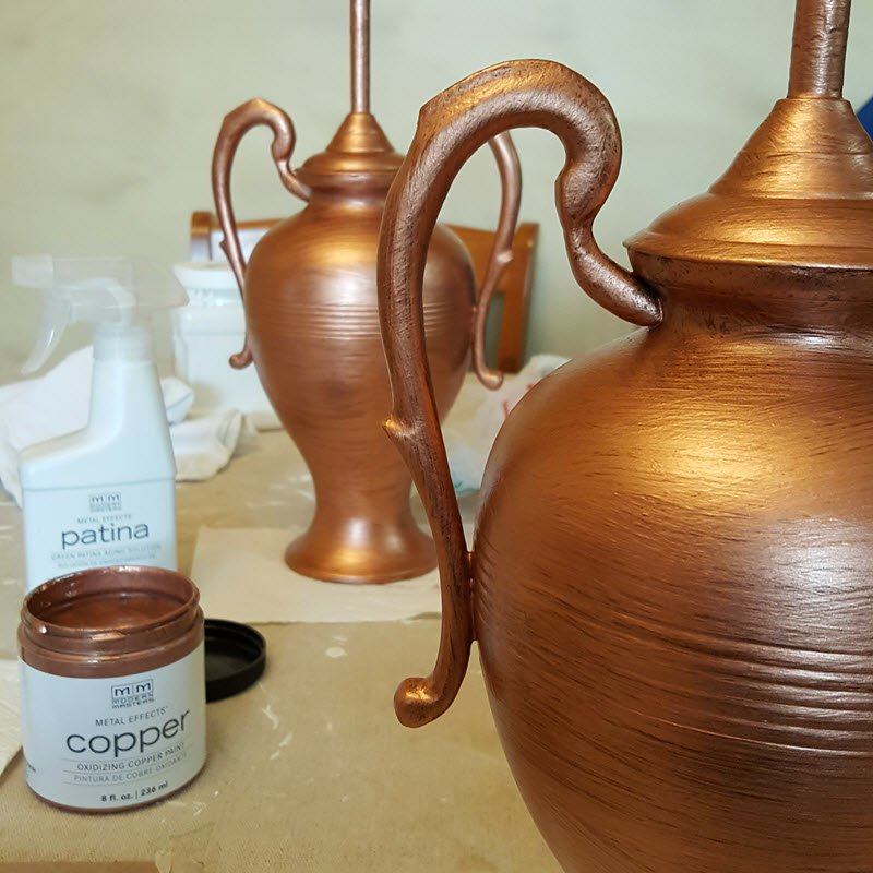 Step 2 is the Copper paint for Modern Masters Metal Effects patina paint