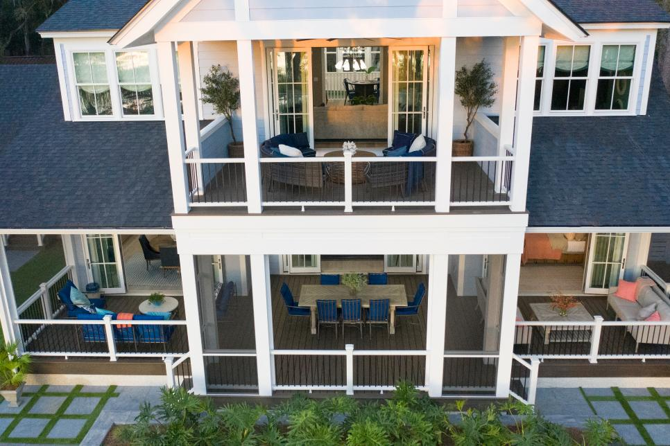 Multiple porches and terraces on all levels of the 2020 hgtv dream home
