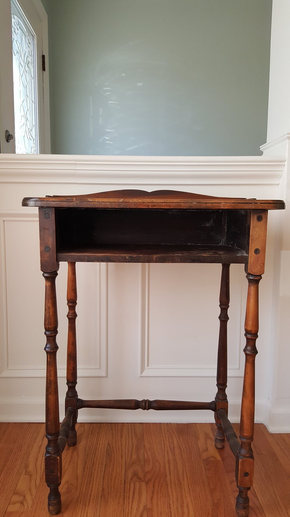 My old telephone table before- Antique Table Gets A Paint Makeover in Beautiful Poetic Blue