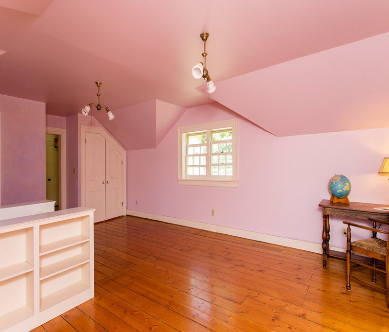 One of The Daley Farm four bedrooms is this darling spacious loft-style room