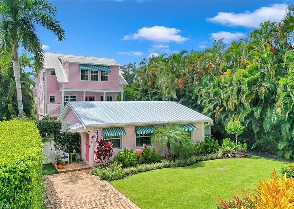 Old Florida Flamingo Style Cottage plus a Main House in Naples FL for sale