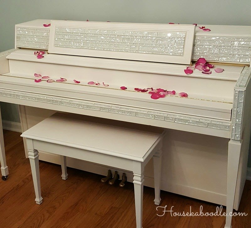 Glitz and Glam Piano Transfoirmation - painted-our-piano-casement-white-by-fusion-and-added-mosaic-tiles-for-liberace-bling-housekaboodle