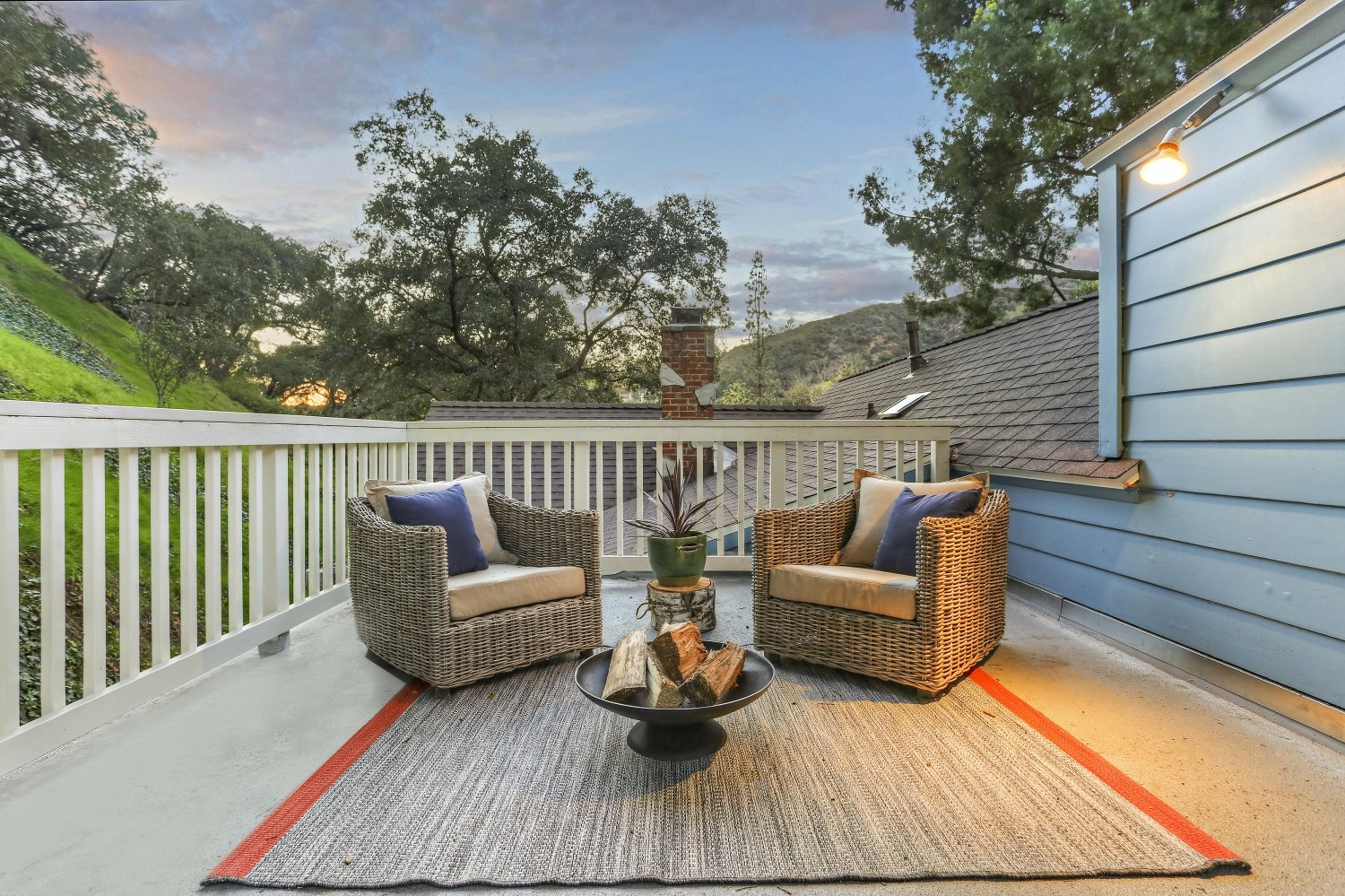 Dutch Cottage in Pennsylvania by Gerard Colford for sale. 2310 E Chevy Chase Dr. Glendale CA - Upper two-level patio sitting area