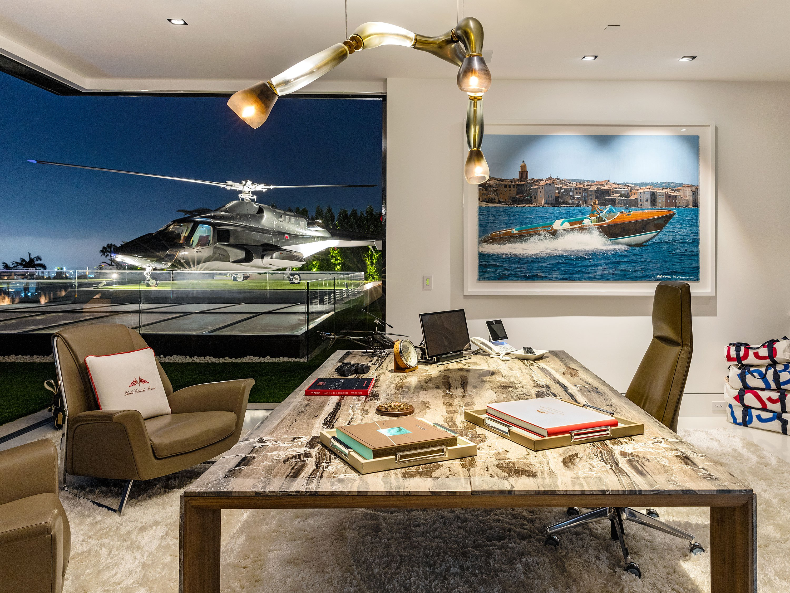 Penthouse Office and Helicopter Pad inside Americas Most Expensive Home
