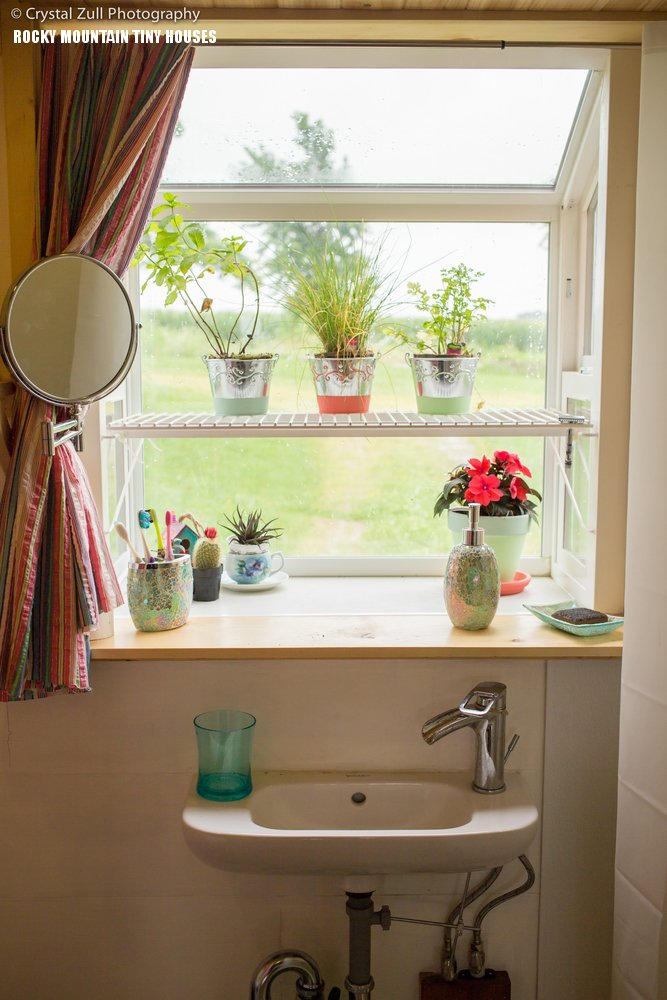 Peqod tiny house bathroom with garden window