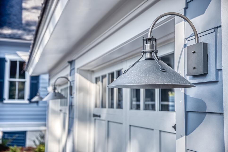 burnished steel sconces garage lighting