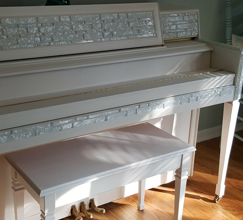 Piano painted in Casement White with Fusion Mineral Paint - Housekaboodle