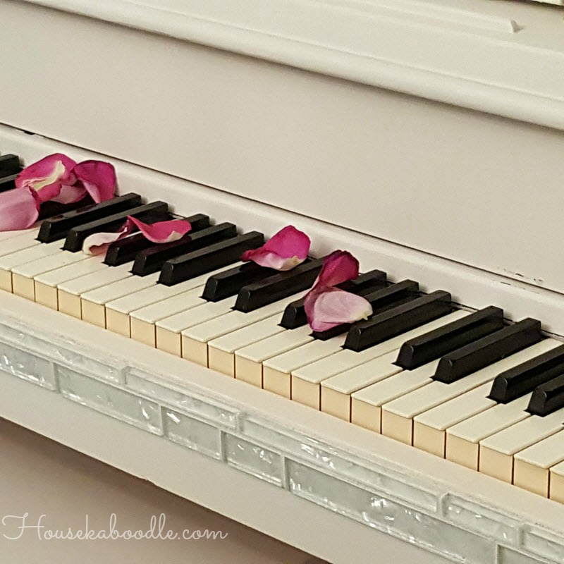 Glitz and Glam Piano transformation with Casement White Fusion Mineral Paint and glass Mosaic tiles - Housekaboodle