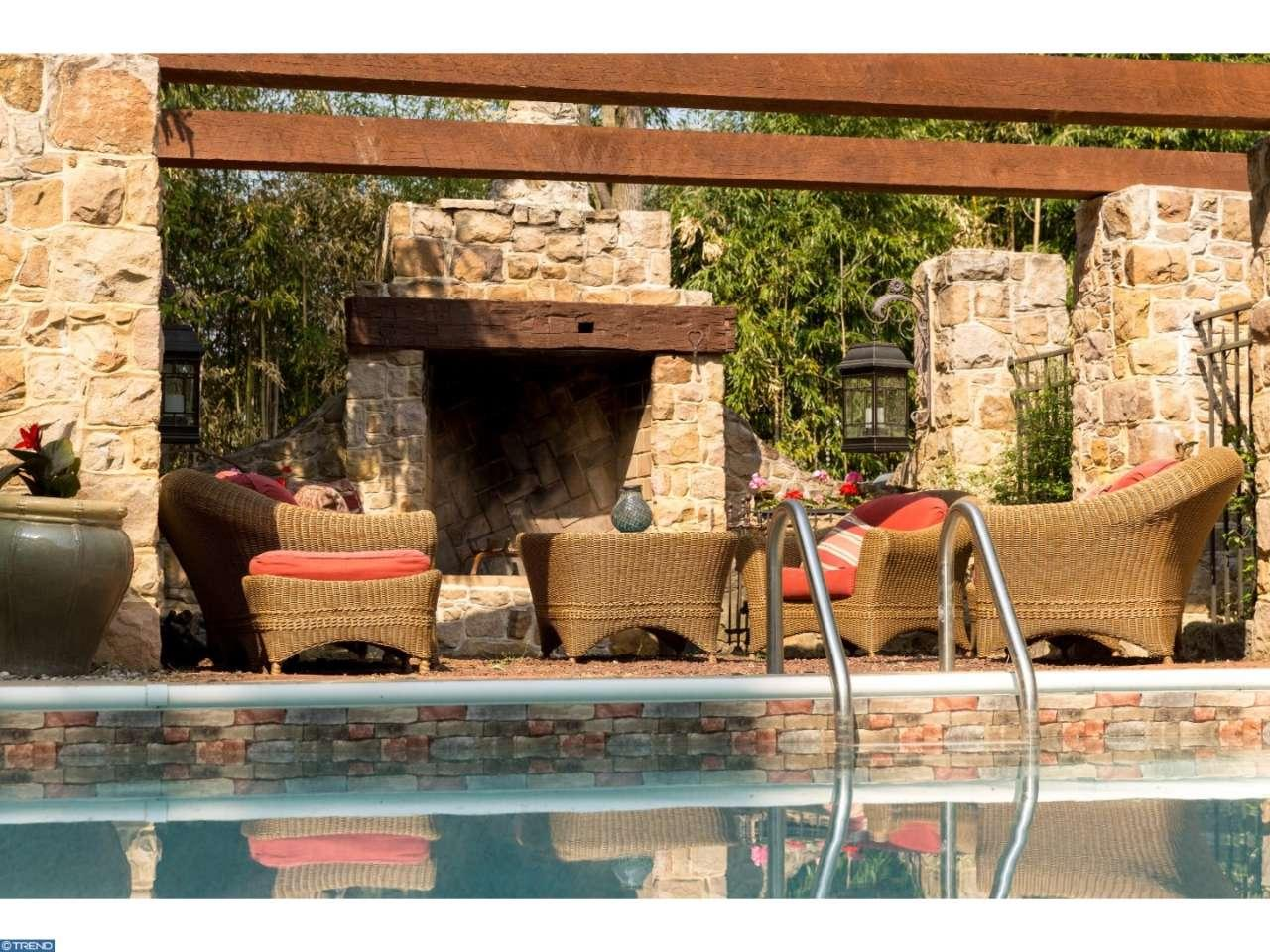 Poolside with stone fireplace - Leap Year Barn for sale in Doylestown PA