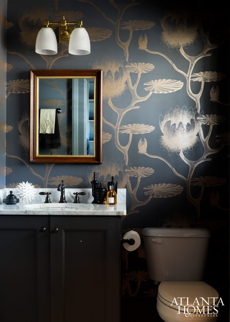 Powder room with Cole and Son wallpaper inside Honeymoon house in Madison, Georgia by Jimmy Stanton
