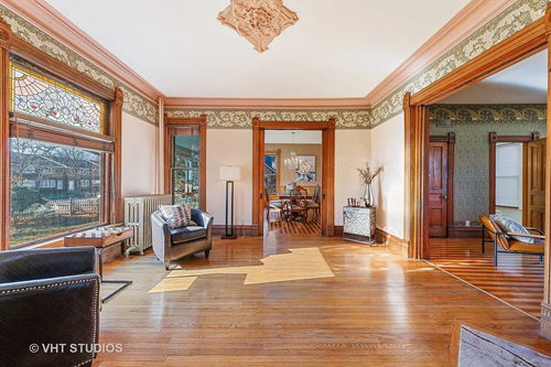 Circa 1890 Queen Anne home in Wheaton IL on the market has stained glass windows