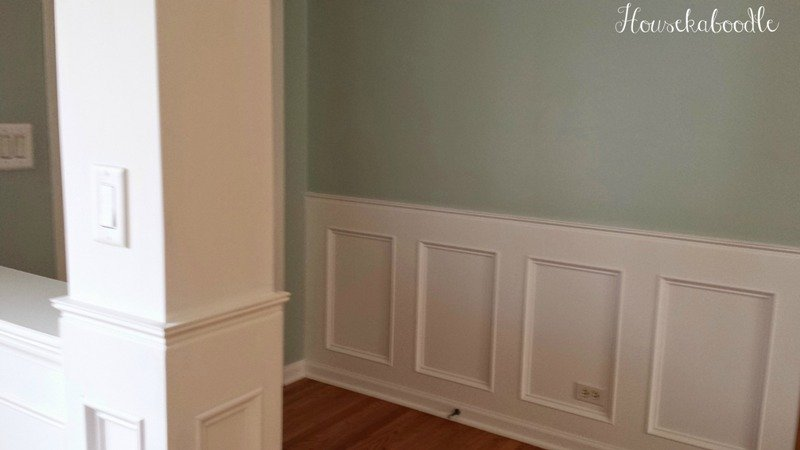 How to make a recessed wainscoting wall from scratch. The walls are painted Palladian Blue- Housekaboodle