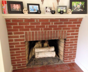 Red brick fireplace before - A Wife in Progress
