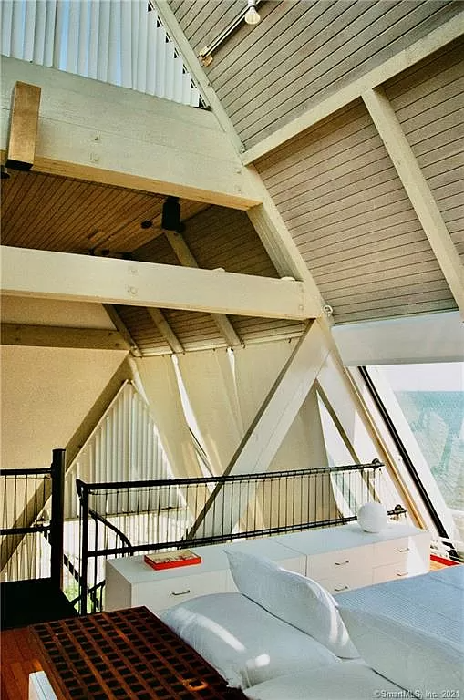 Soaring ceilings in the Sailboat House for sale in Guilford CT.