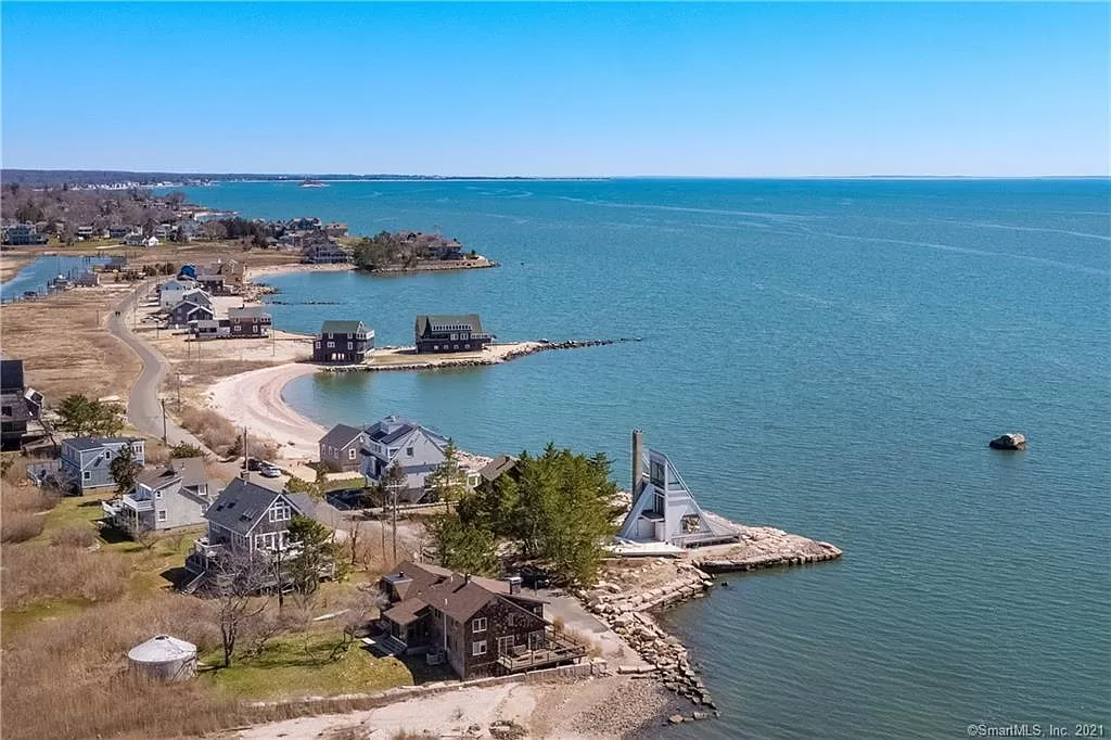 Coastline view of Triangle Shaped House in Guilford CT for sale