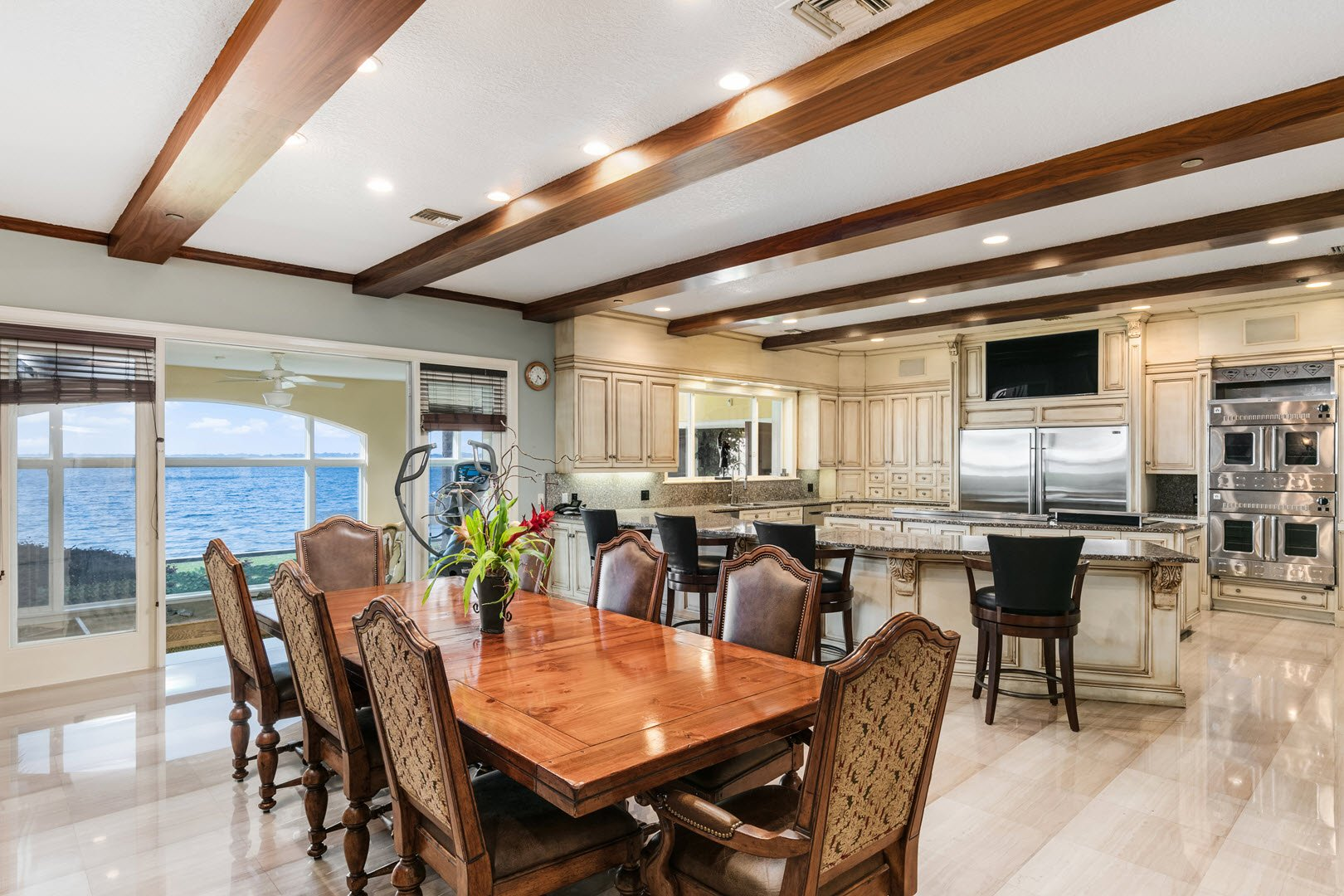 Shaquille O'Neal Florida Mansion For Sale Kitchen and Dining