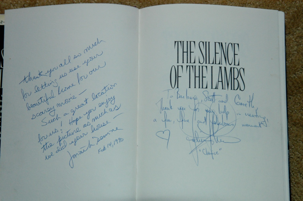 Signed Silence of the Lamb book comes with the sale of the house