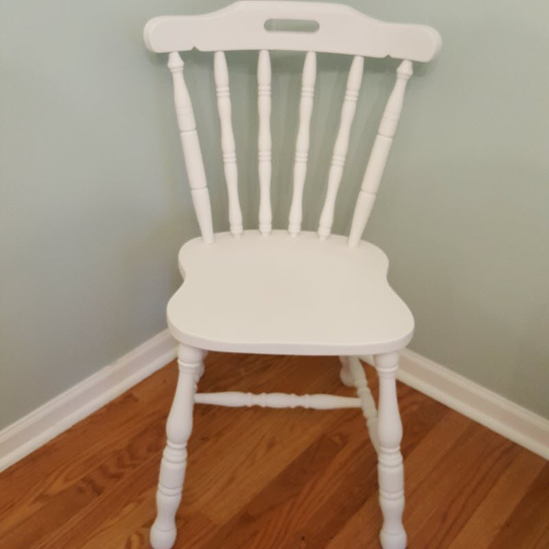 Spindleback Farmhouse style chair painted Dixie Belle Fluff