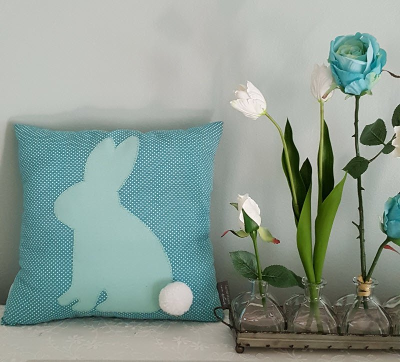 Spring home decor accents with Aflora flowers, vases and a cute bunny pillow - Housekaboodle