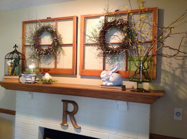 Spring mantle decor with forsythia branches, wreaths and bunny by Renaissance Mermaid on Happy Home Tour