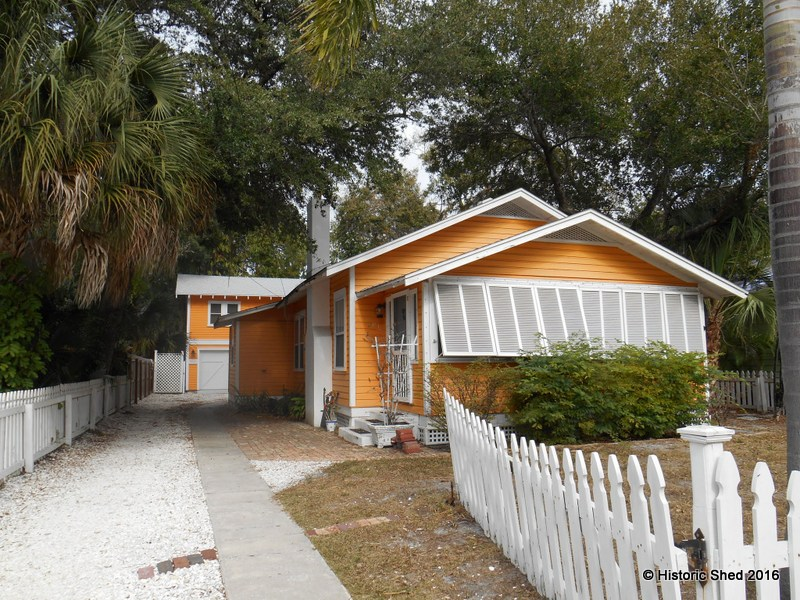 Tangerine cottage and upper carriage house built by Historic Shed in Florida