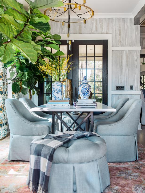 The dining room and inside of the HGTV Smart Home is designed by Tiffany Brooks