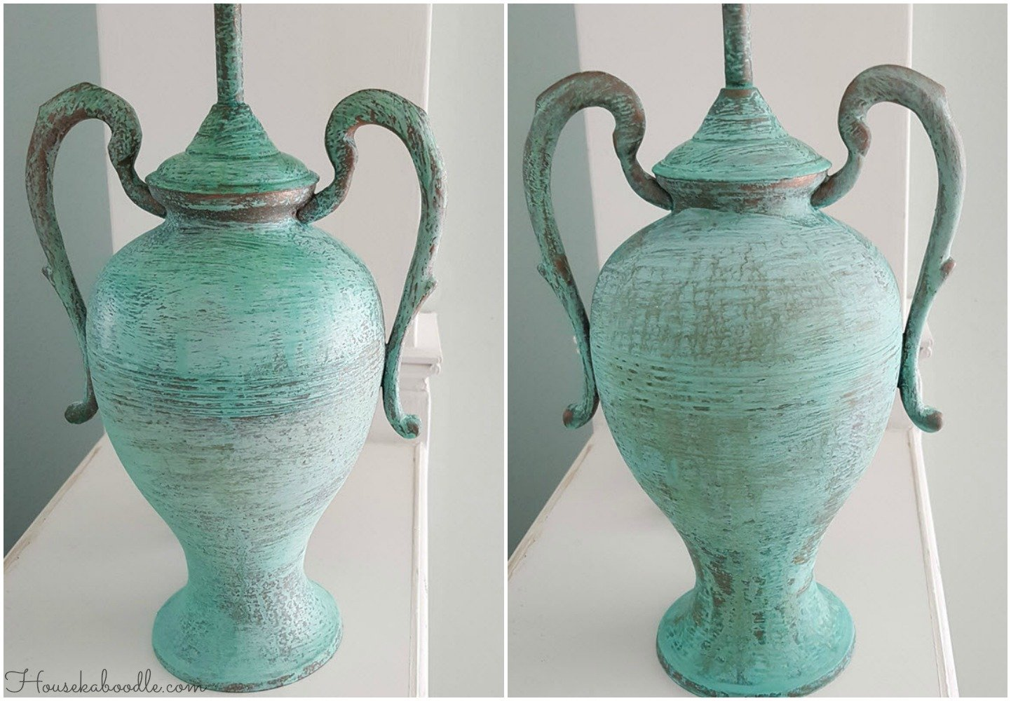 Two lamps transformed with Modern Masters Metal Effects in Green Patina - Housekaboodle