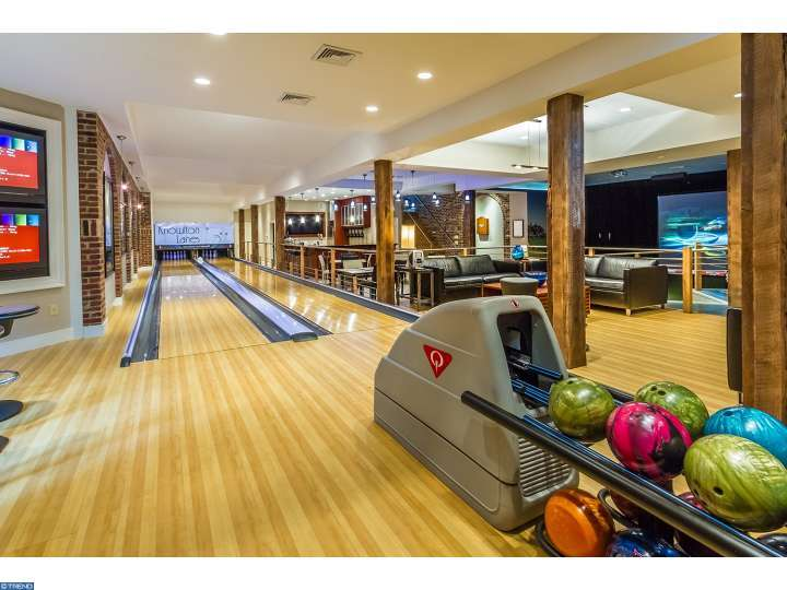 Two lane bowling alley inside Tabula Rasa house in New Jersey
