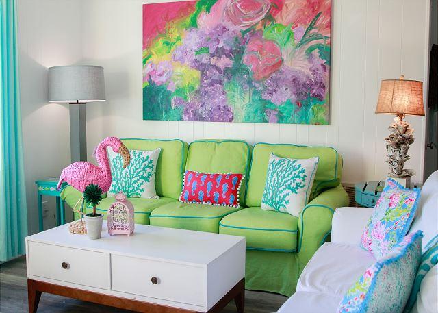 Tybee Island Mermaid Cottage Rental: Coastal Joy Cottage is full of bright colorful decor