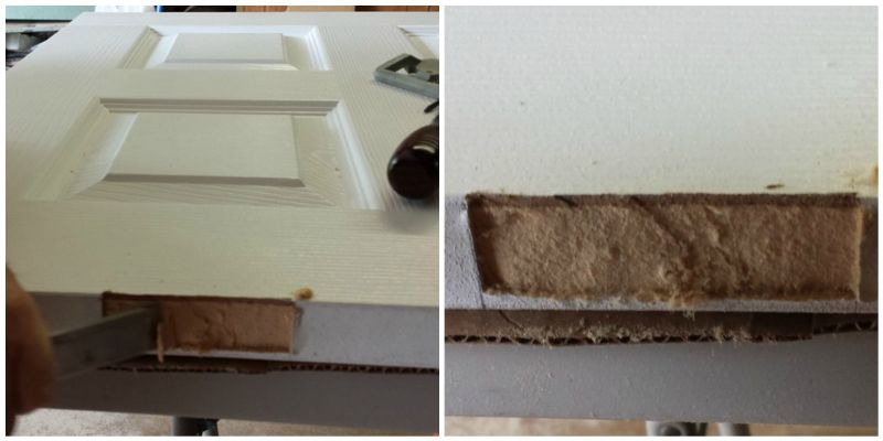 Use Irwin Door Cut Out Kit to make new hinge area on new slab doors