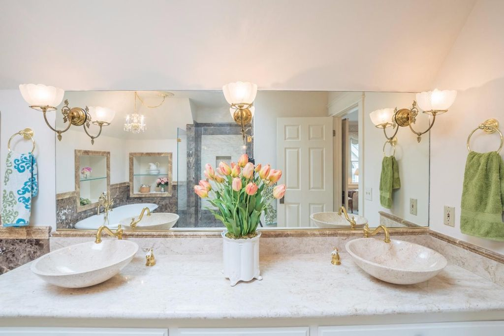 Victorian House The Daffodil for sale in Pacific Grove CA - Beautiful Bathroom dual sinks