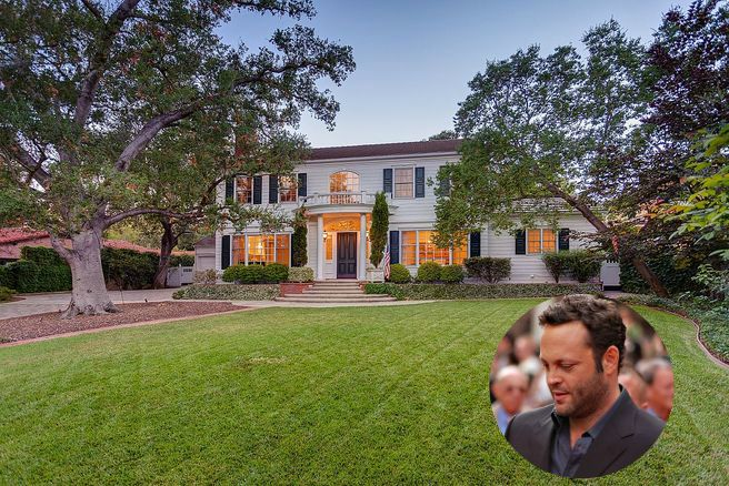 Vince Vaughns Colonial Mansion in La Canada Flintridge CA is for sale. His Colonial home is stunningly beautiful. Everything inside and out is white with black floors, black accents and a black and white checkered floor in the laundry room. - Housekaboodle