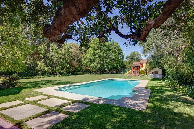 Vince Vaughn Colonial Mansion in La Canada Flintridge California - Backyard with pool and playground