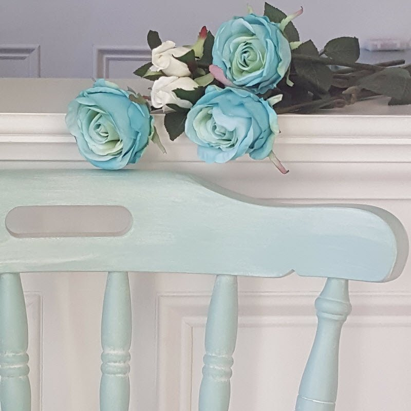 Vintage Farmhouse Style Chair is painted with Dixie Belle Sea Glass and Fluff - Housekaboodle