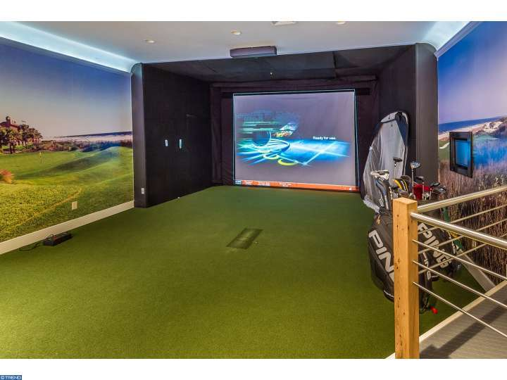 Virtural Golf driving range in historic home for sale in Moorestown New Jersey