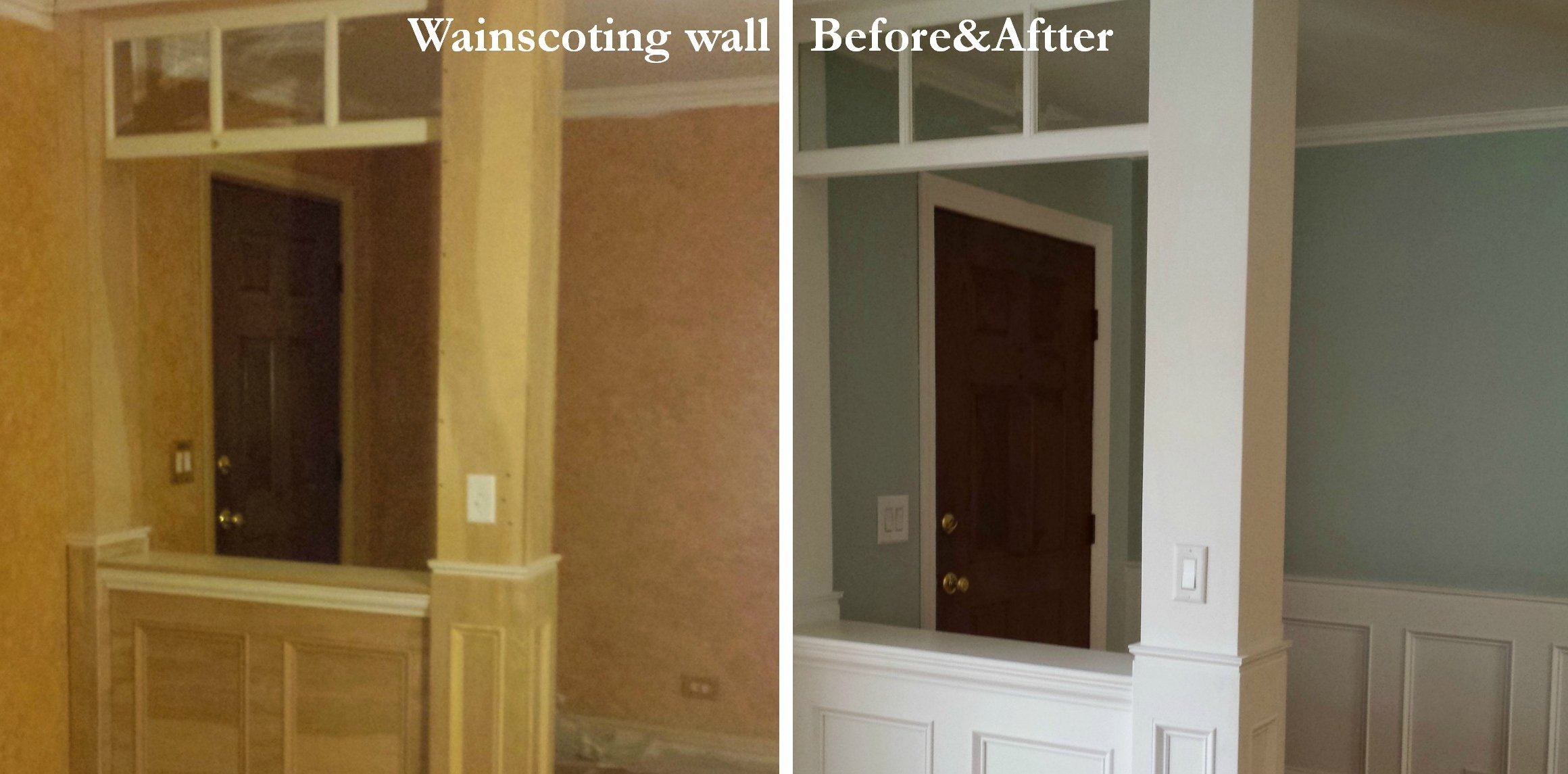 Wainscoting wall Before and After - Housekaboodle & How To Make a Recessed Wainscoting Wall From Scratch