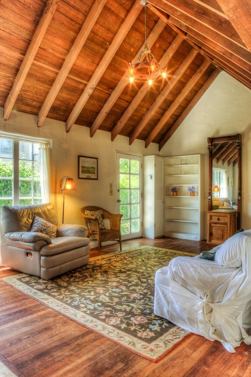 Comstock fairytale cottage in carmel for Adding wood beams to ceiling