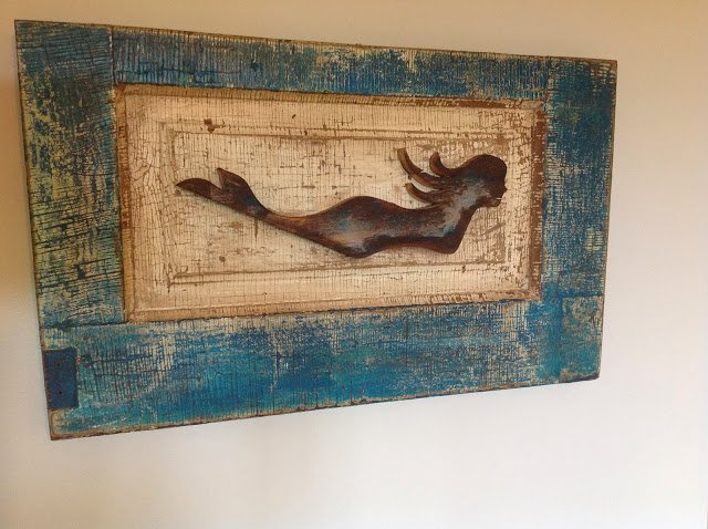 wooden mermaid sign renaissance mermaid home decor - Mermaid Home Decor