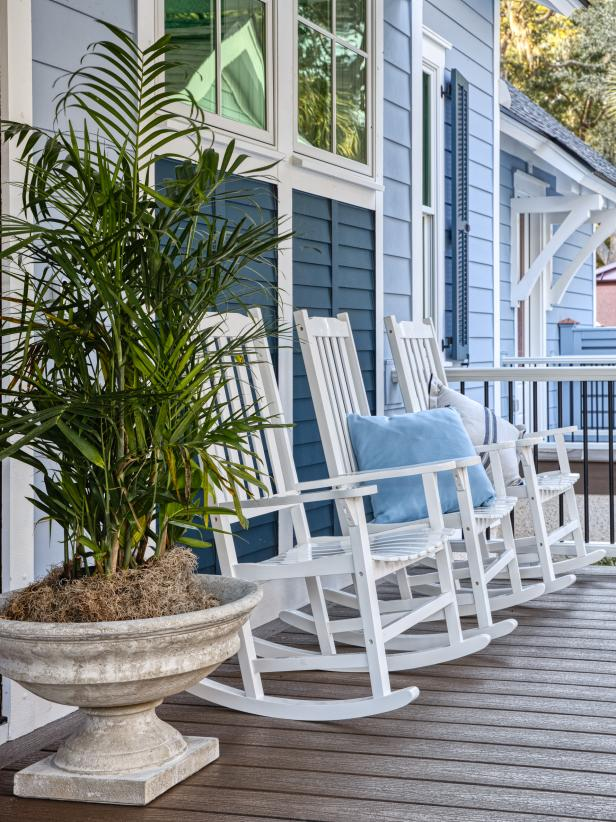 Wooden rocking chairs on the porch for relaxing - HGTV Dram Home 2020