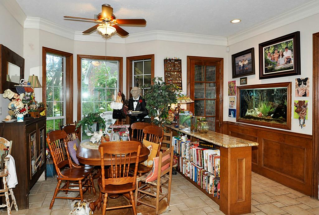 The cozy breakfast room in this Richmond Texas unusual real estate listing